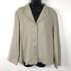 Eileen Fisher Tan Button Blazer Jacket Large